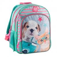 Plecak szkolny dla dziewczynki kotek w okularach i piesek Paso