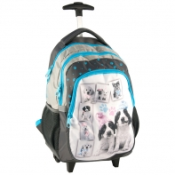 Plecak szkolny na kółkach Pieski w czapkach Paso