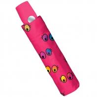 Automatyczna parasolka w kolorowe oczka, różowa