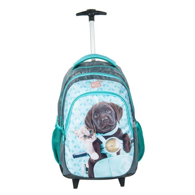 c0d92901910d8 Plecak szkolny na kółkach Paso, kot i pies na motorze