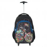 Plecak szkolny na kółkach Paso, kolorowy motocyklista