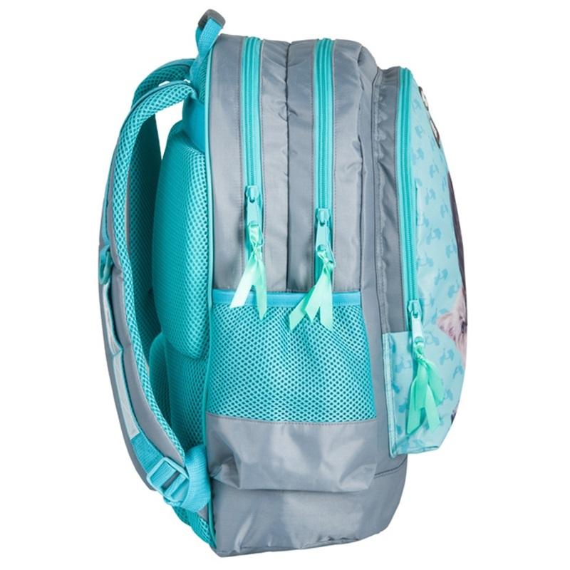 3964aa4655b67 Plecak szkolny dla dziewczynki Paso kot i pies na motorze