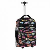 Plecak szkolny na kółkach Paso, duże koła, motyw kolorowe pióra