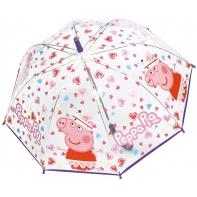 Dziecięca przezroczysta głęboka parasolka Świnka Peppa, fioletowa