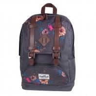 Młodzieżowy plecak szkolny CoolPack City, Grey Denim Flowers 1018