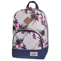 Bardzo lekki plecak szkolno - miejski CoolPack Classic 17 L, Beige Denim Flowers 1015