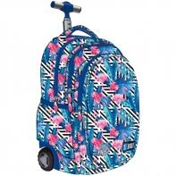 Trzykomorowy plecak na kółkach St.Right 34 L, Flamingo Pink&Blue