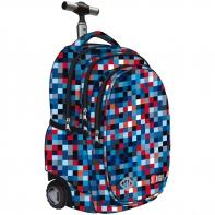 Trzykomorowy plecak na kółkach St.Right 34 L, Pixelmania Blue