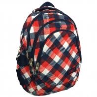 Trzykomorowy plecak szkolny St.Right 27 L, Chequered Pattern