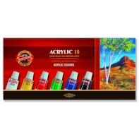 10 farb akrylowych w tubach KOH-I-NOOR 10 x 16ml