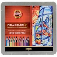 48 kredek ołówkowych artystycznych sześciokątnych w metalowej kasecie KOH-I-NOOR