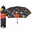 Mała składana parasolka w emotikonki EMOJI, czarna
