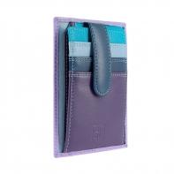 Skórzany portfel na karty marki DuDu®, fioletowy + niebieski