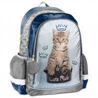 Lekki plecak szkolny z kotkiem w koronie, Paso