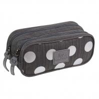 Saszetka piórnik szkolny Coolpack Clever, Silver Dots Grey A577