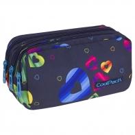 Trzykomorowa saszetka piórnik szkolny Coolpack Primus, Rainbow Hearts A062