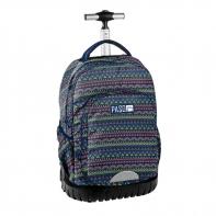 Plecak szkolny na kółkach Paso, duże koła, granatowy we wzorki
