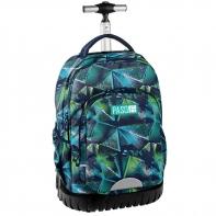 Plecak szkolny na kółkach Paso, duże koła, zielono niebieski kalejdoskop