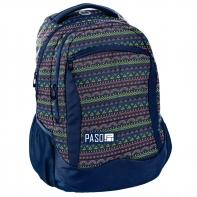 Lekki plecak szkolny Paso, granatowy we wzorki