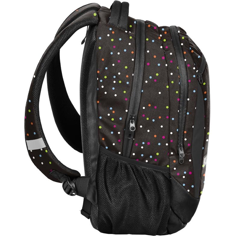 a60e1204fbc06 Lekki plecak szkolny Paso, czarny w groszki
