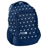 Lekki plecak szkolny Paso, granatowy w serduszka
