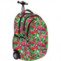 Trzykomorowy plecak na kółkach St.Right 34 L, Flamingo Pink&Green TB1