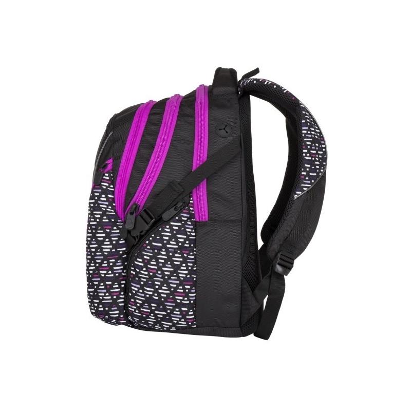 f691239bfb2e4 Plecak szkolny młodzieżowy Bagmaster trzykomorowy czarny ze wstawkami