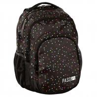 Lekki plecak szkolny Paso, brązowy w kolorowe kropeczki