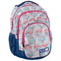 Lekki plecak szkolny Paso, z flamingami