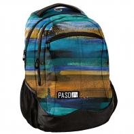 Lekki plecak szkolny Paso, beżowo niebieski wzór