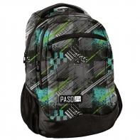 Lekki plecak szkolny Paso, szaro-zielony wzór