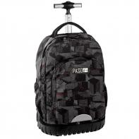 Plecak szkolny na kółkach Paso, duże koła, szary we wzory