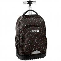 Plecak szkolny na kółkach Paso, duże koła, brązowy w kolorowe kropeczki