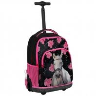Plecak szkolny na kółkach Paso, biały koń