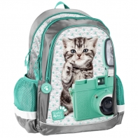 Lekki plecak szkolny z kotkiem z aparatem na szyi, Paso