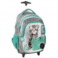 Plecak szkolny na kółkach z kotkiem i aparatem, Paso