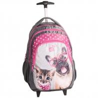 Plecak szkolny na kółkach z kotkiem i pieskiem, Paso
