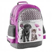 Lekki plecak szkolny z psem i kotem, Paso