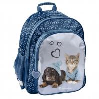 Lekki plecak szkolny z kotkiem i pieskiem, Paso