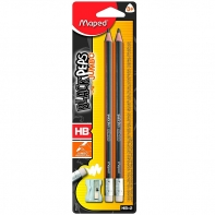 Zestaw 2 grubych, trójkątnych ołówków Maped Black Peps Jumbo + temperówka