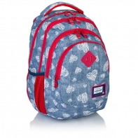 Plecak szkolny mini Astra Head HD-196, niebieski w serduszka