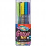 Zestaw 12 długopisów żelowych brokatowych Colorino