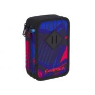 Potrójny piórnik z wyposażeniem, Coolpack Jumper 3, CRAZY PINK ABSTRACT A446