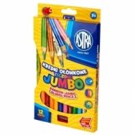 12 kredki ołówkowe tęczowe Astra Jumbo + temperówka