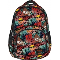 Dwukomorowy plecak szkolny St.Right 23 L, EMOJI Graffiti