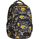 Dwukomorowy plecak szkolny St.Right 28 L, EMOJI Black