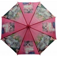 Automatyczna duża parasolka dziecięca z gwizdkiem, kotki, różowa