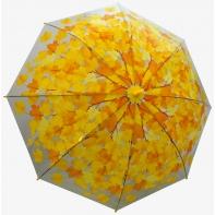 Jesienna przezroczysta parasolka w żółte liście