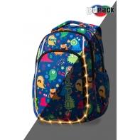 Swiecący plecak szkolny CoolPack LED Strike S 19 L Funny Mosters A18206 + ładowarka