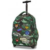Plecak szkolny na kółkach CoolPack Junior 24 L, CAMO GREEN BADGES